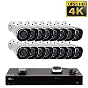 GW 16 Channel H.265 PoE NVR Ultra-HD 4K (3840x2160) Video & Audio Security Camera System with 16 x 4K (8MP) Microphone IP Bullet Camera, 100ft Night Vision, Waterproof Surveillance Camera, 12TB HDD