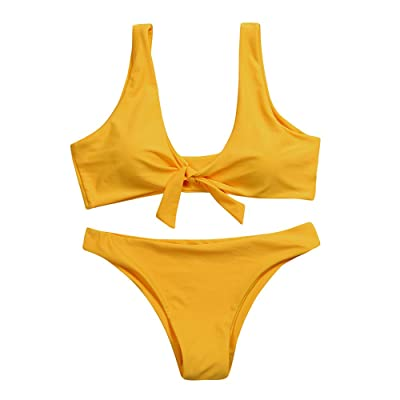 Steagoner Women's Bikini Set Tie Knot Front Solid Color Swimsuit Sexy High Cut Two Piece Beach Bathing Suit: Clothing