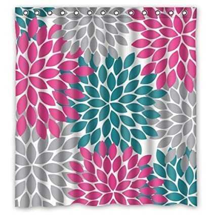 Classic Pink Grey Green Dahlia Floral Pattern Shower CurtainsPolyester Waterproof 66quot