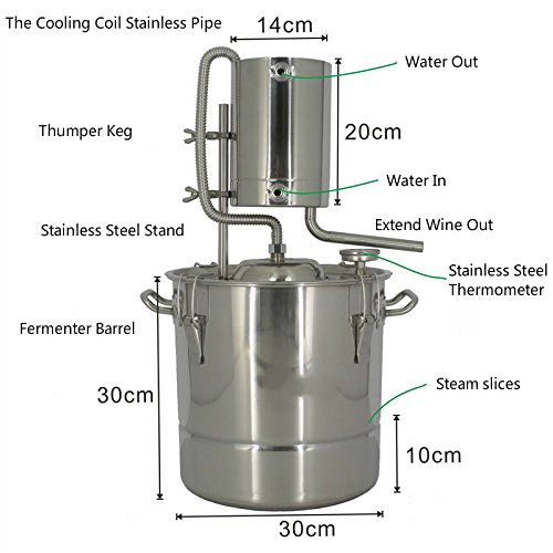 20 Litres DIY 2 Pots Moonshine Still Home Distiller for Making 304 Stainless Steel Wine Alcohol Distiller Fermentation Barrels With Water Pump by AIMIEE_JL (Image #1)