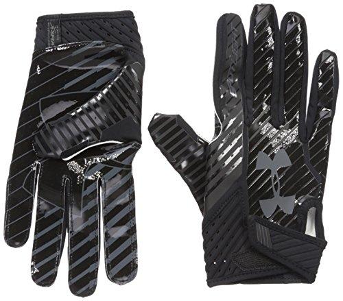 Under Armour Men's Spotlight Football Gloves,Black (002)/Stealth Gray, Medium (Gloves Football Black)