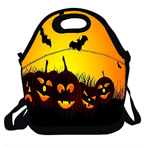 Lunch Bag for Kids, Waterproof Insulated Neoprene Lunch Tote with Zipper for School Work Outdoor - Halloween Hd Wallpapers