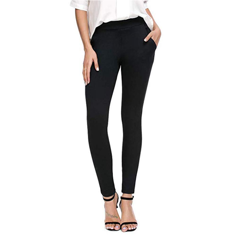 SomeTeam Enge Yogahosen für Damen Tasche Elastische Dünne Hosen Klassisches Schwarz Strumpfhosen Yogahosen Streetwear Pants