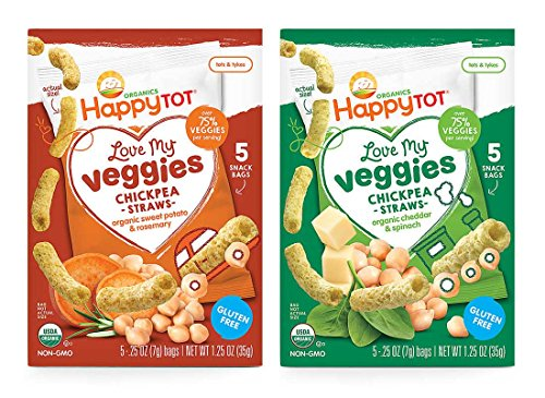 Happy Tot Organic Love My Veggies Chickpea Straws Bundle: Cheddar Spinach & Sweet Potato Rosemary (1 box of (Love Peas)