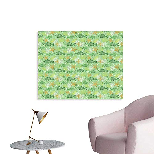 J Chief Sky Fishes Wallpaper Sticker Hand Drawn Basses Starfishes and Auger Seashell on Green Background Underwater Theme Decor Mural for Home W48 xL32