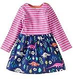 lymanchi Little Girls Cotton Long Sleeve Dress Toddler Casual Striped Dresses Cute Playwear Dress E 3T