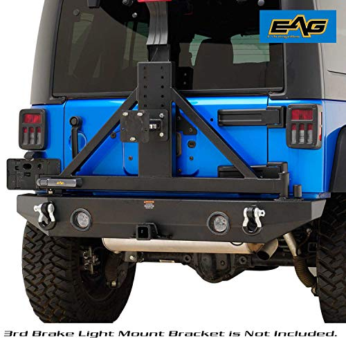 - EAG Rear Bumper with LED Lights & Secure Lock Tire Carrier for 07-18 Jeep JK Wrangler
