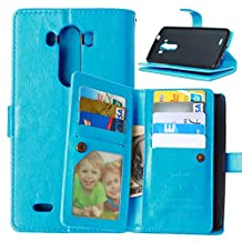 LG G3 Case,YiLin [Wallet Case] 9 Card Holder [Detachable Wallet Folio] Premium PU Leather Cover Case with [Card Slots] [Stand] for LG G3 [Blue]