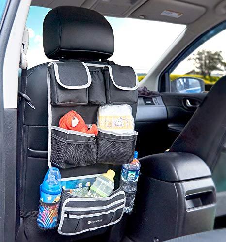 Backseat Car Hanging Organizer EZOWare Multipurpose Travel Pouch Pocket Organizer Back Seat Kicker Protector Perfect For Baby Kids Children Toddlers