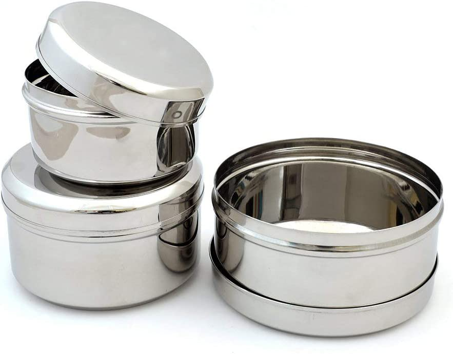 Kitchen Expert Stainless Steel Spill-proof Dips/Condiments/Snack/Side Dish Mini Containers, Set Of 3, 11.6 oz