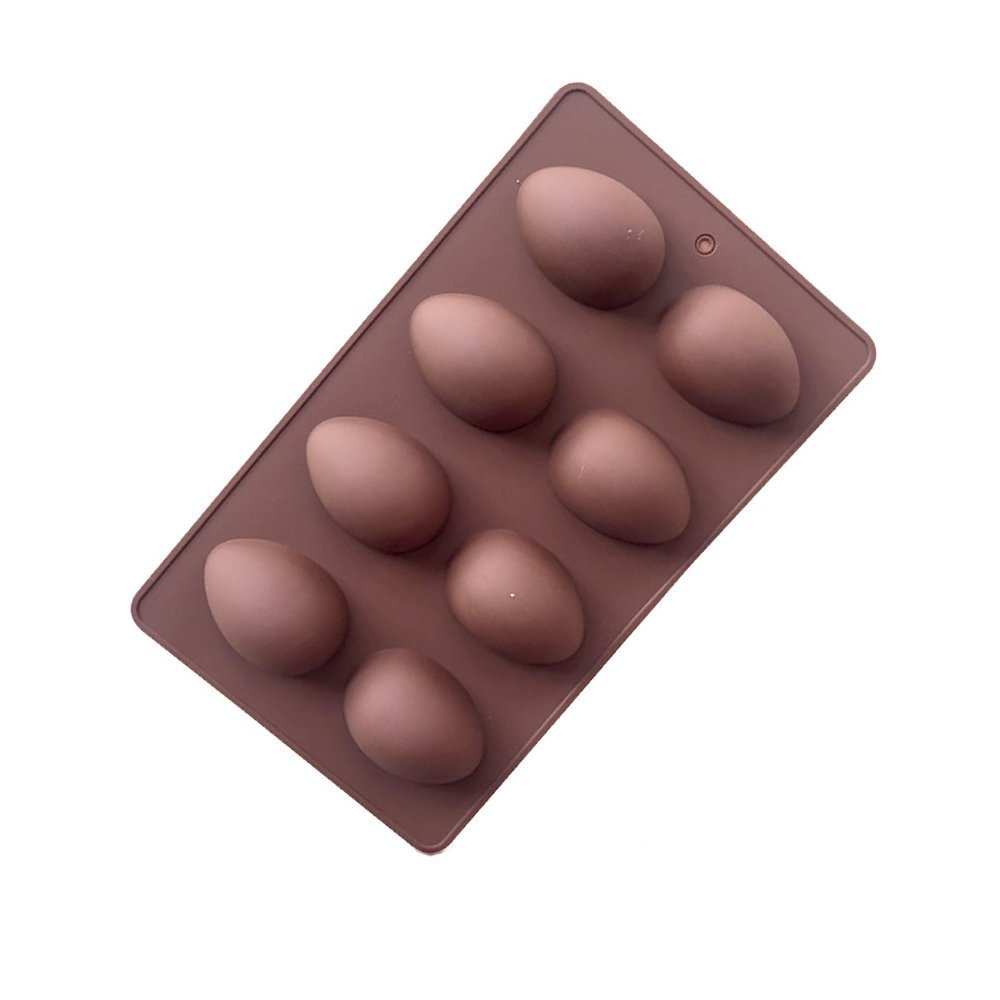 Jun Easter 8-Cavity Egg Shape Non Stick Silicone Mold for Cake mold,chocolate mold,Pudding mold,Silicone mold,Ice tray mold,baking mold (1) JUN Store