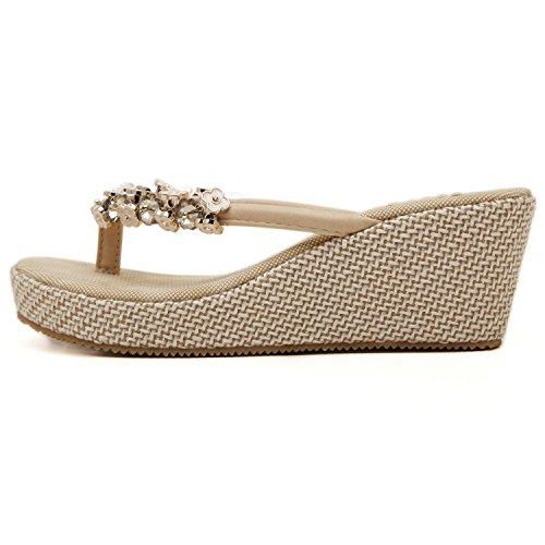 Wedge Sandales en de perles métal dqq femmes Beige Tong Beige YtqEEX