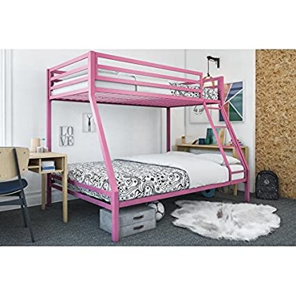 Premium twin-over-full bunk bed in Pink