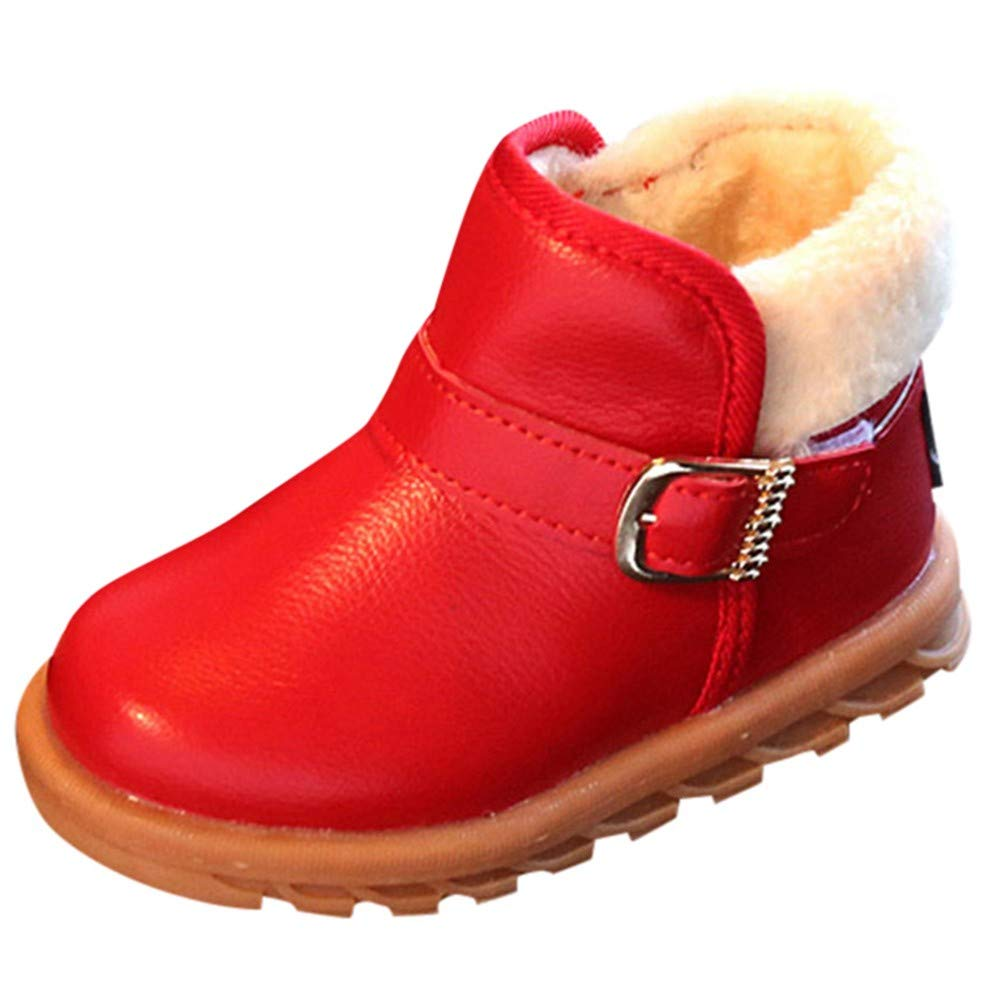 Kids Winter Shoes,Baby Girls Solid Leather Soft Warm Princess Martin Boots (12-18 Months, Red) Fdsd