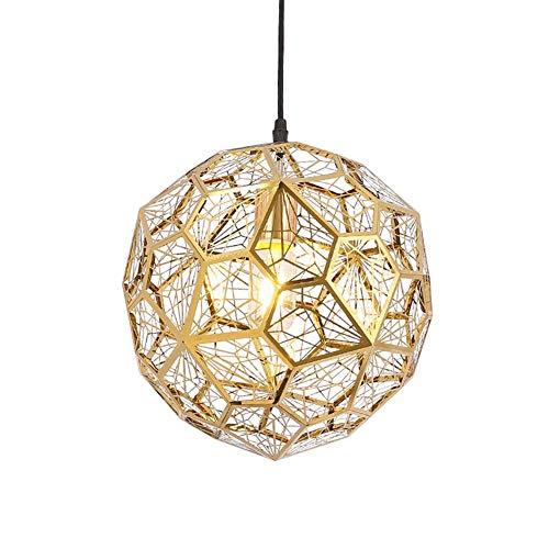 - TopDeng Metal Globe Pendant Lights, Creative Personality Pendant Lighting Stainless Steel Hardwired E26 Diamond Drop Hanging Light 1 Light-Titanium Gold 25cm