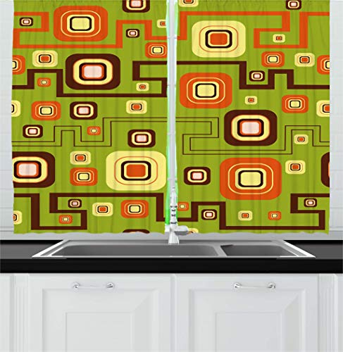 Green and Orange Kitchen Drapes Geometric Design !950 - 1960 Inspired