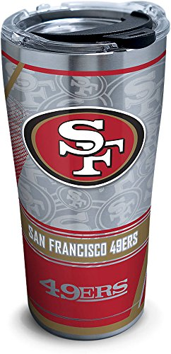 (Tervis 1266680 NFL San Francisco 49ers Edge Stainless Steel Tumbler with Clear and Black Hammer Lid 20oz, Silver)