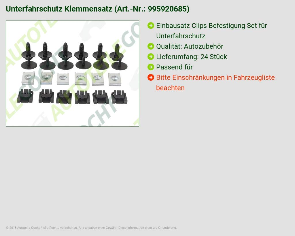 CLIP CLIPS BEFESTIGUNG EINBAUSATZ SET UNTERFAHRSCHUTZ VON AUTOTEILE GOCHT