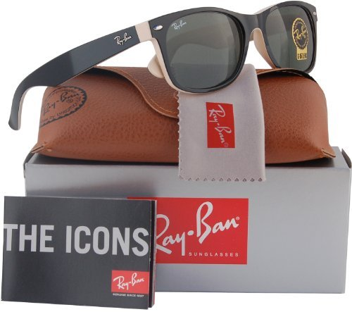 Ray-Ban RB2132 New Wayfarer Sunglasses Shiny Black/Beige (875) RB 2132 - New Ban Ray Sunglasses