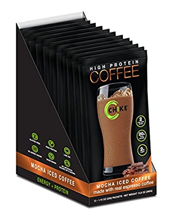 Chike High Protein Iced Coffee Mocha, 12 Single Serving Packets 1.16 Ounce