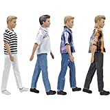 E-TING 4 Sets Casual Suit Plaid Shirt T-shirt and Jeans Pants Trousers Doll Wearing Clothes for Boy Dolls