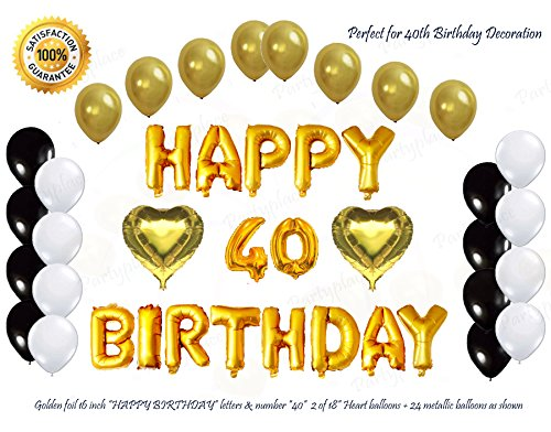 Shiny Golden Happy 40th Birthday Decorations Letters Balloon Set by PartyPlace, 16 Inch Gold Letter Mylar Foil Balloon, 2 Gold heart shape balloon. Bonus-Metallic Balloons (40th Birthday)