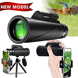 [Newest 2019] Monocular Telescope for Adult, High Power 12x50 Compact Scope for Smartphone,Waterproof High Definition BAK4 Prism FMC Low Night Vision Monoscope for Bird Watching,Hunting,Camping