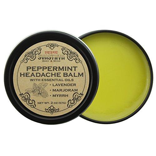 Svasthya Peppermint Headache Balm All Natural Headache & Migraine Relief, Sinus Headache, Stress Relief, Aromatherapy, Non GMO, Cruelty Free