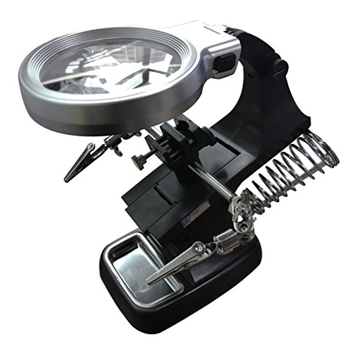 AOLOX LED Light Helping Hands Magnifier Station - 3X 4.5X USB Desk Lighted Hands Free Magnifying Glass Stand with Clamp and Alligator Clips- For Soldering, Assembly, Repair, Modeling, DIY Hobby, Craft