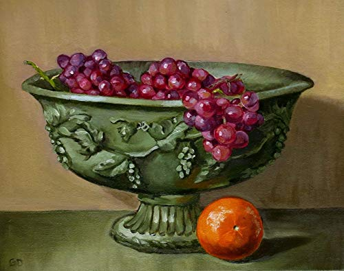 Grapes with Orange Fruit Food Kitchen Fine Art Still Life Wall Decor Painting ~ Original (NOT a print) 11