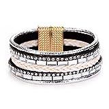 Women Handmade Multilayer Bling Rhinestone Wristband Wrap AU Leather Bracelet Bangle Gift for Girls Mens Teens Student Best Friend Forever(C)