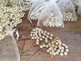 12 Full Size Rosaries Ivory Color Faux Pearls with gold plated accents To be Used as Baptism Favors/communion Favors/Christening Favors
