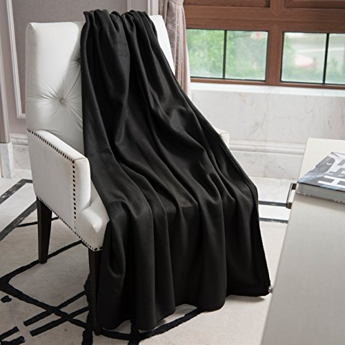 NordECO Fleece Blanket Soft Cozy Plus Lightweight Throw Blanket, 220GSM, Black, 60