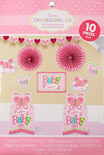 Amscan Appealing Welcome Little One Girl Room Decorating Kit Baby Shower Party Decorations (10 Piece), 14