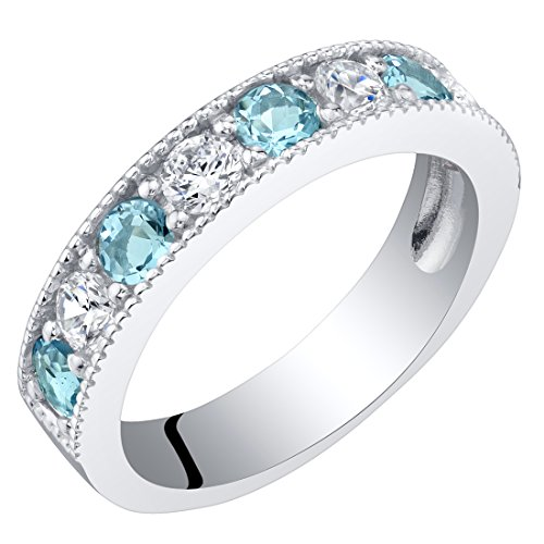 s Blue Topaz Milgrain Half Eternity Ring Band Size 5 ()