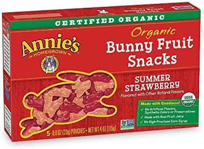 Annie's Organic Bunny Fruit Snacks, Summer Strawberry, 0.8 oz. Each (50 Pouches)
