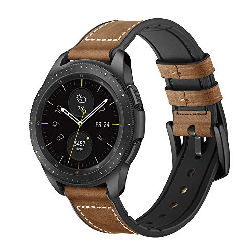 Aimtel Compatible Samsung Galaxy Watch(42mm) Bands,20mm Genuine Leather Strap Band Compatible Samsung Galaxy Watch SM-R810/SM-R815 /Gear Sport/Suunto 3 Fitness Smart Watch (Crazy Horse Deep Brown)