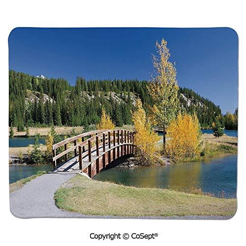 Non-Slip Rubber Base Mousepad,Autumn in Banff National Park Serene Canada Landscape Yellow Trees Bridge,for Laptop,Computer & PC (7.87