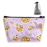 Jingclor Portable Trapezoidal Storage Pouch Pizza Seamless Texture Illustration Cosmetic Bags Travel Toiletry Zipper Pencil Holders