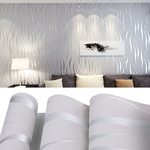 Textured Art Wallpaper (European Vintage Non Woven 3D Wallpaper, Art Textured Wall paper for Living room Bedroom (TYPE 2:Silver/Gray))