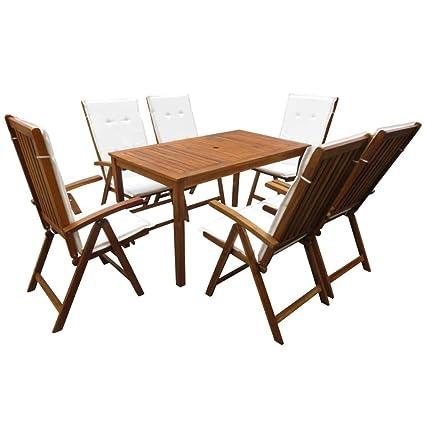 Festnight- Juego de Mesa y 6 sillas Plegables para jardín (1 ...