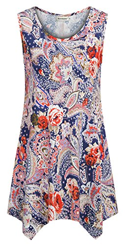 Floral Tank Top Women,Nandashe Peplum Retro Style Popular Round Collar Casual Loose Sleeveless Draped Wide Hemline Basic Shirts for Work Daily Life Dating Beach Wear Long Undershirts Blue Red L Large by Nandashe
