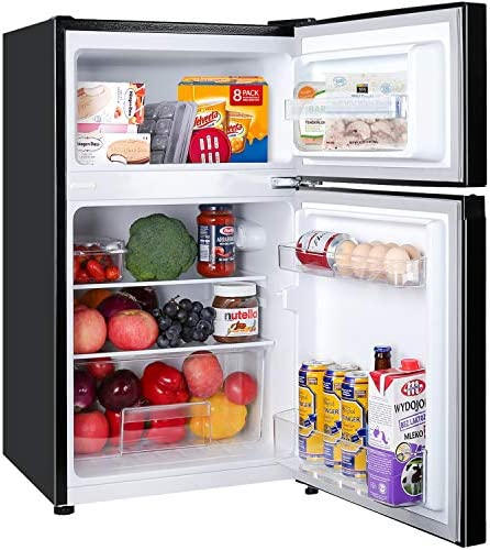 2 Door Mini Fridge with Freezer TECCPO, Compact Refrigerator, Energy Star, 35dB, LED Light, Reversible Door, 7 Adjustable Thermostat Control, for Dorm, Bedroom, Office, Kitchen, Apartment, RV, Black, 3.0 Cu. Ft - TAMF17