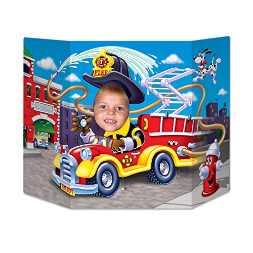 (Beistle Fire Truck Photo Property, 3-Feet 10-Inch by 25-Inch, Multicolor)