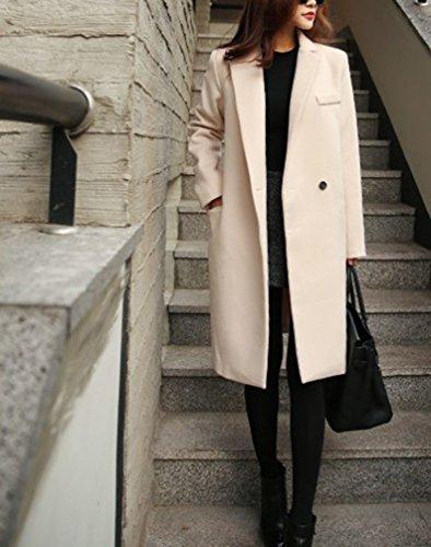 Damen Lange Mantel Trenchcoat Übergangsjacke Faux Wollmantel Parka Coat Outwear