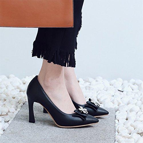de Europea Americana Primavera de y de la de Tacón Tacón los Son Zapatos de black Otoño Mujer Las Abejas Zapatos Pintura y Zapatos el Grandes Durante Pajarita Alto dBg1dq