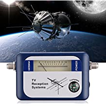 Signal Meter, DVB-T Mini Digital Satellite Signal Finder Meter with Compass, TV Antenna Signal Strength Meter, TV Reception Systems, Blue