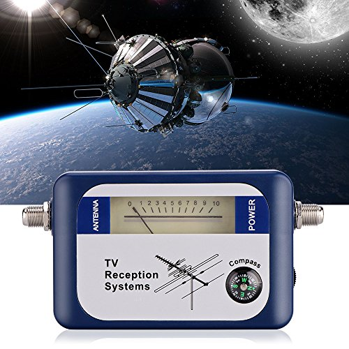 Signal Meter, DVB-T Mini Digital Satellite Signal Finder Meter with Compass, TV Antenna Signal Strength Meter, TV Reception Systems (Blue)