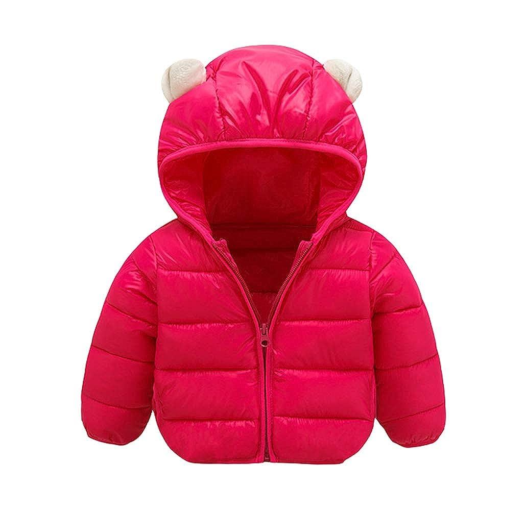 AIKSSOO Boys Girl Ultra Light Jacket Kids Ear Warm Coat Thick Hoodie Outwear