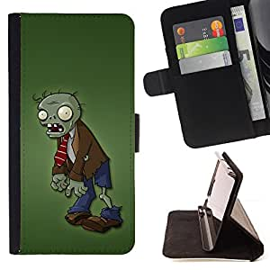 For Motorola Moto E (1st Gen, 2014) Zombie Green Man Monster Cartoon Character Style PU Leather Case Wallet Flip Stand Flap Closure Cover